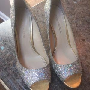 Enzo Angiolini silver sparkly heels